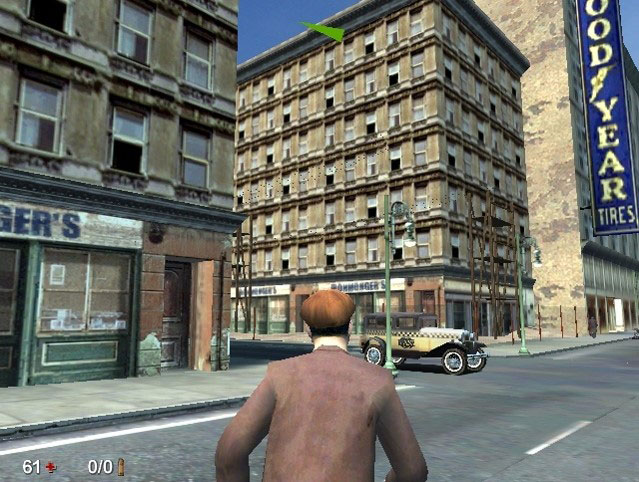 Still from video-game-like reconstruction of a navigation route through a city with an avatar approaching an intersection