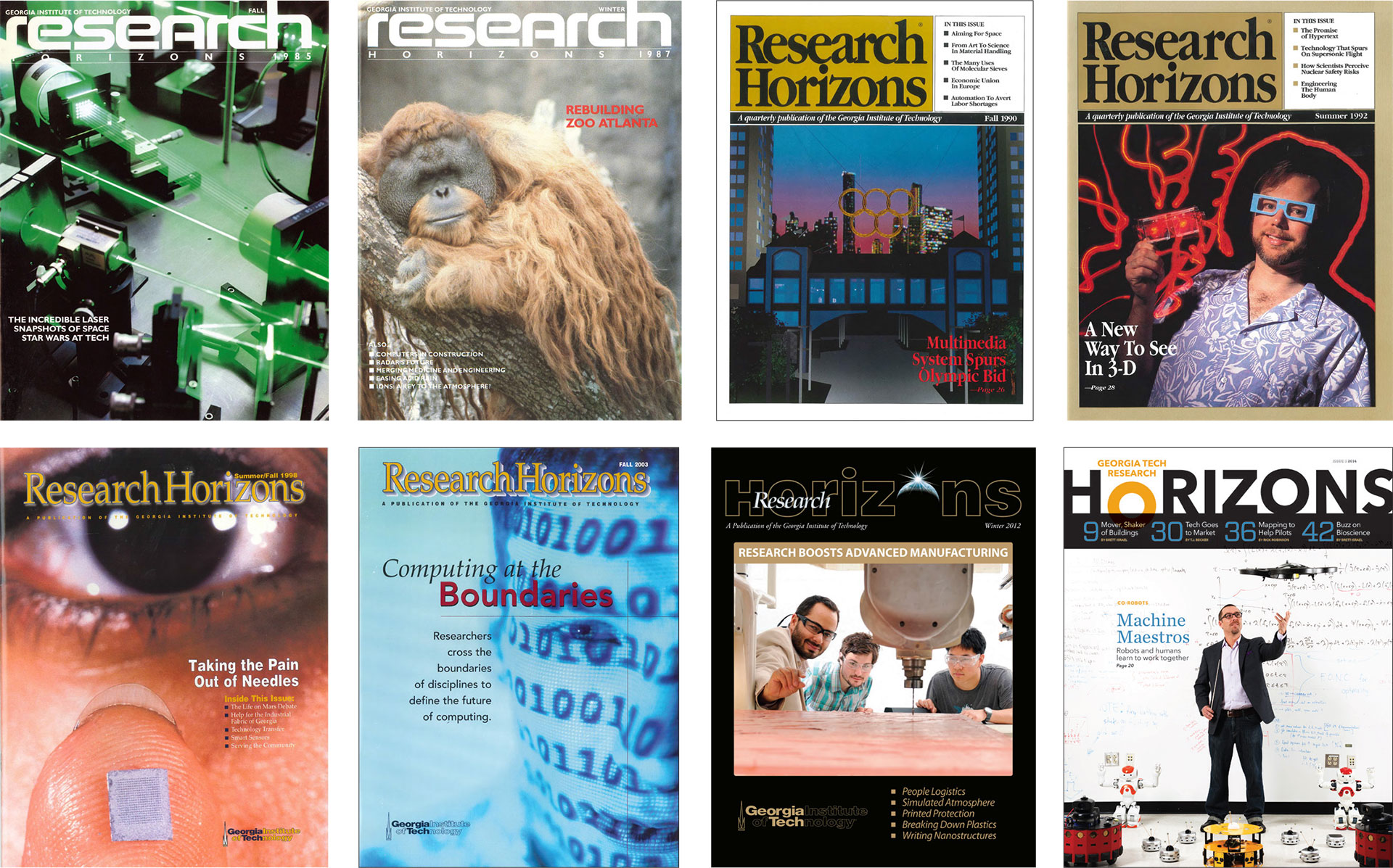 Issues of Research Horizons magazine through the years