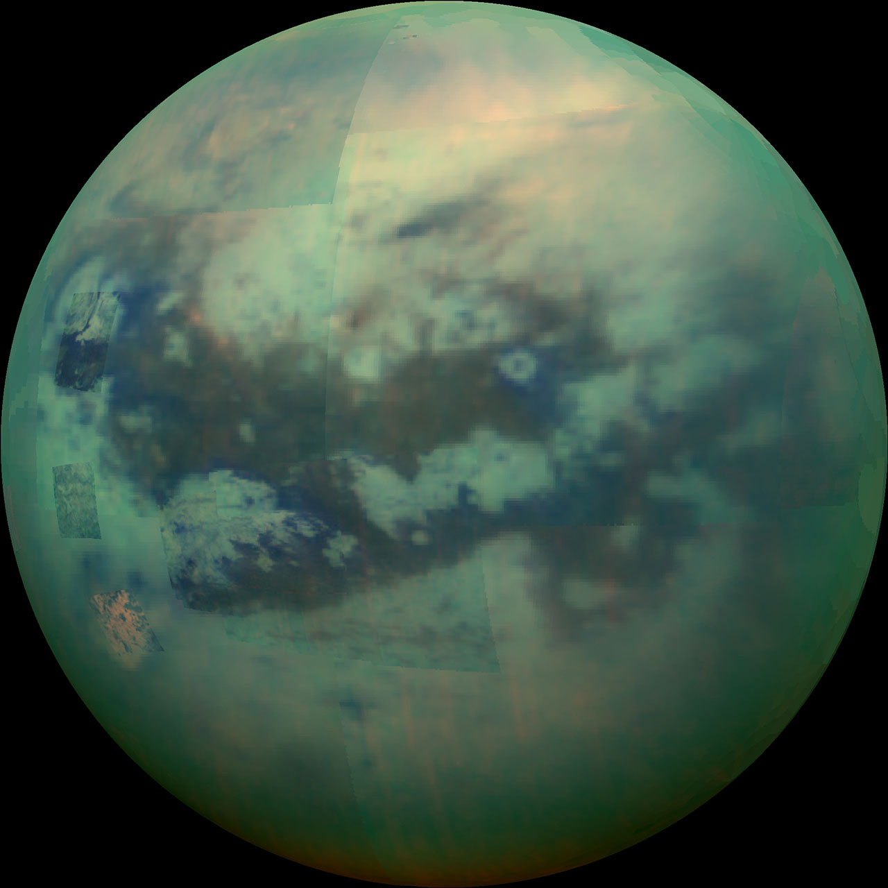A false-color view of Titan shows a marble-like surface with light and dark patches