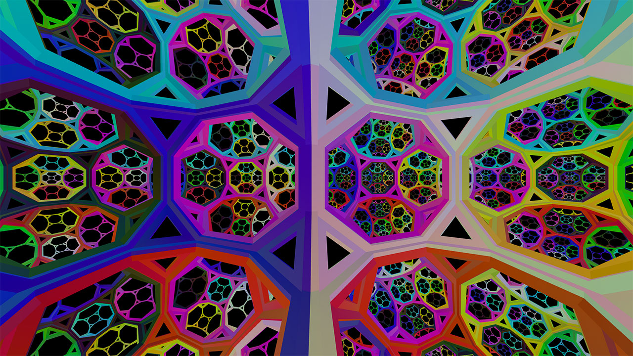 A brightly-colored, fractal like octagonal geometry on a black background that repeats in all directions