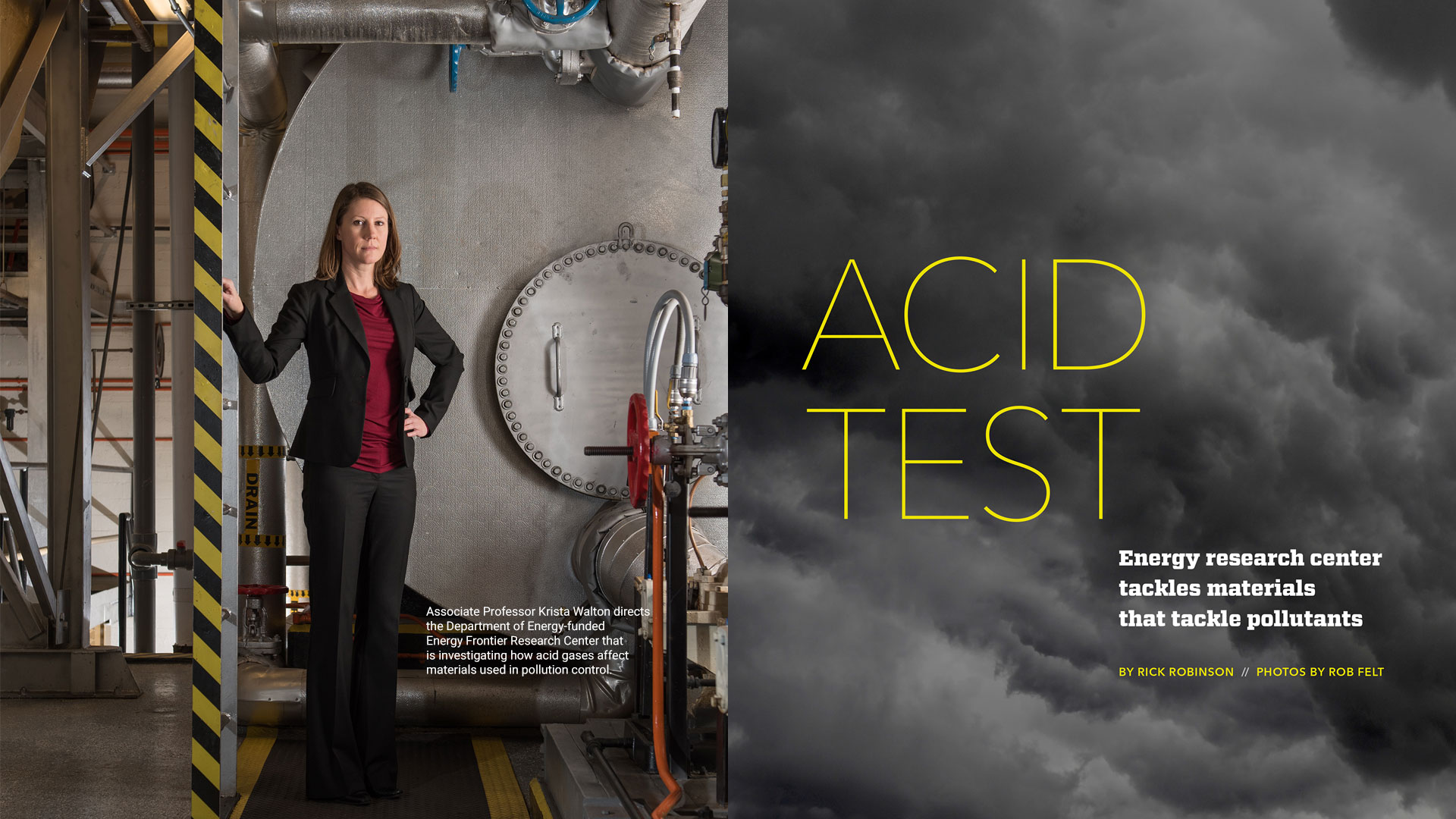 Associate Professor Krista Walton directs the Department of Energy-funded Energy Frontier Research Center that is investigating how acid gases affect materials used in pollution control.