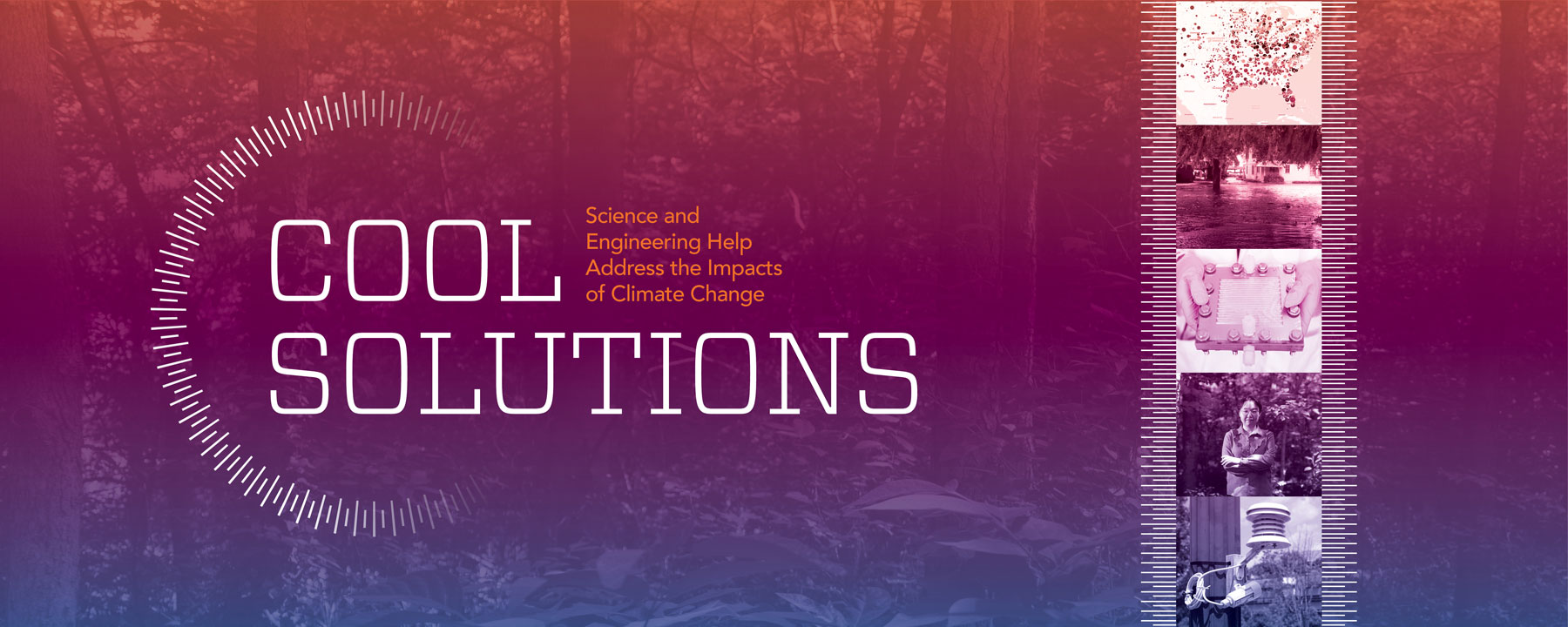 Cool Solutions heading featuring a temperature gradient and images of climate change research