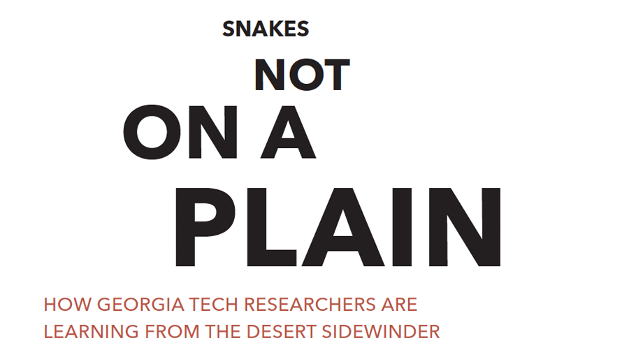 Snakes Not on a Plain - How Georgia Tech Researchers are learning from the desert sidewinder