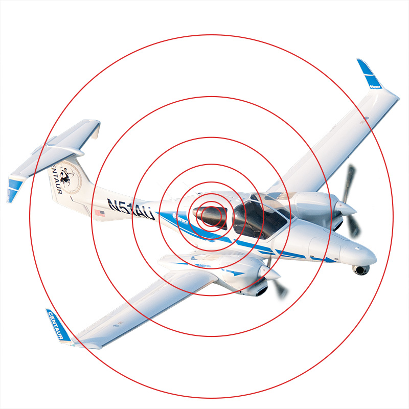 illustration of private airplane with beam indication lines