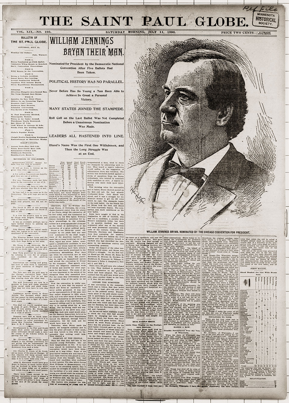 Clipping of an 1896 newspaper article from the Library of Congress