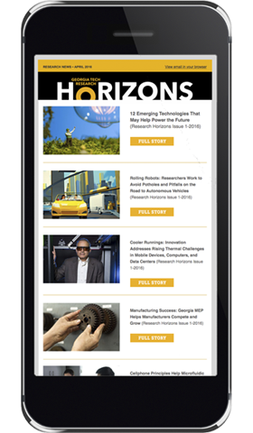 an image of a smartphone displaying the research horizons newsletter