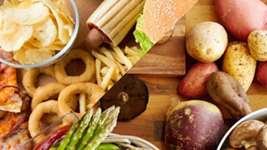 stock photo - fast food and healthy food