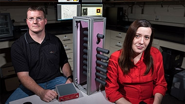 photo - two researchers in lab