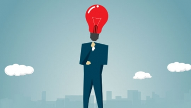 illustration - man with lightbulb for head