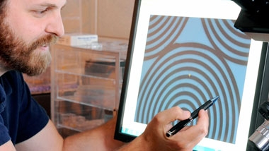 photo - researcher pointing to diagram on computer screen