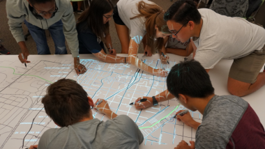 Georgia Tech students testing out an early version of the Map Spot tool. Credit: Yanni Loukissas