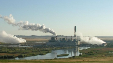 Coal-fired power plant by day