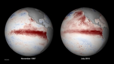 El Nino globe images 1997 and 2015