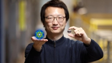 Researcher Xiaojian Bai and his colleagues used neutrons at ORNL's Spallation Neutron Source to discover hidden quantum fluctuations in a rather simple iron-iodide material discovered in 1929. (Credit: ORNL/Genevieve Martin)