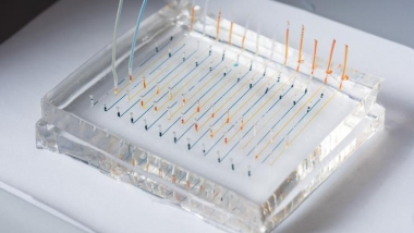 Closeup of microfluidic chip
