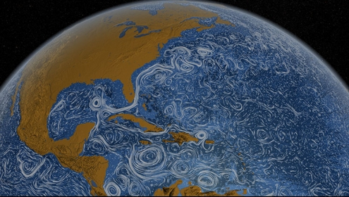 computer generated image of global ocean turbulence patterns