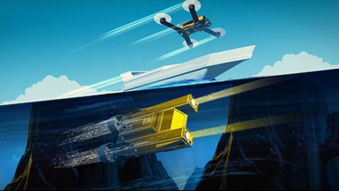 Illustration - autonomous vehicles on air, land and water