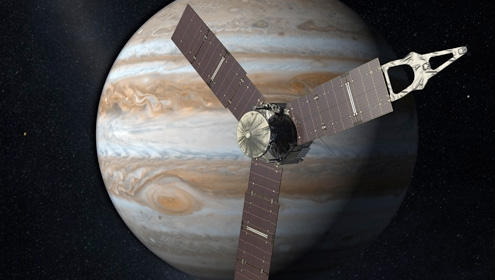 Rendering of planet Jupiter with Juno probe in foreground