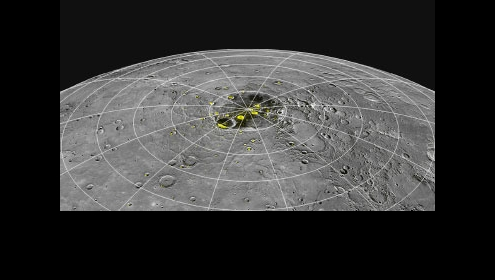 Mercury's North Pole with probable ice deposites highlighted