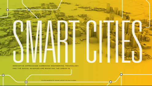 Smart Cities. A brightly colored 3-d design of a city.