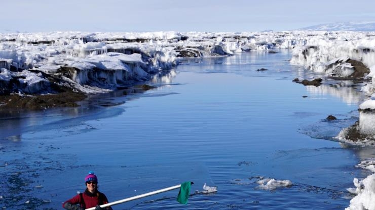 CU's Alison Banwell in Antarctic meltwater