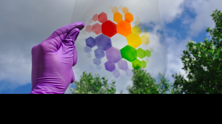 Electrochromic, color-changing polymer materials like the kind studied by COPE and GTPN researchers. (Photo by Georgia Tech.)