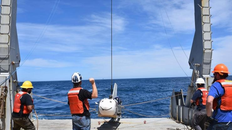 SUESI (Scripps Undersea Electromagnetic Source Instrument) ready for deployment. (Photo Samer Naif)
