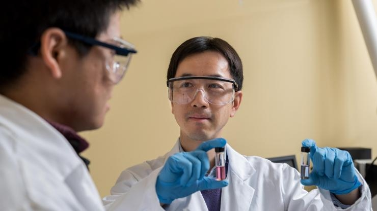 Researchers with hairy nanoparticles