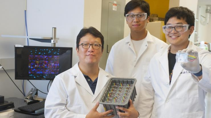 Tony Kim holds up microfluidic chips with Yom and Sei