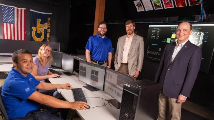 Mission Control for Lunar Flashlight operations at Georgia Tech. From left to right: Ulises Núñez, Kathleen Hartwell, Sterling Peet, Jud Ready, and Glenn Lightsey (Credit: Candler Hobbs)