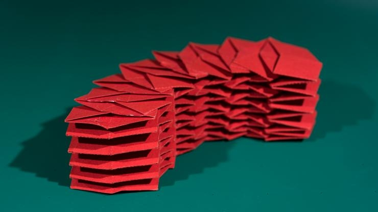 Origami structure of 12 tubes - folded flat