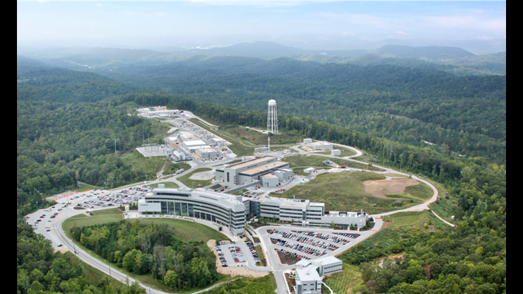 Aerial view of ORNL's Spallation Neutron Source facility. Photo courtesy of Ian Anderson/ORNL.