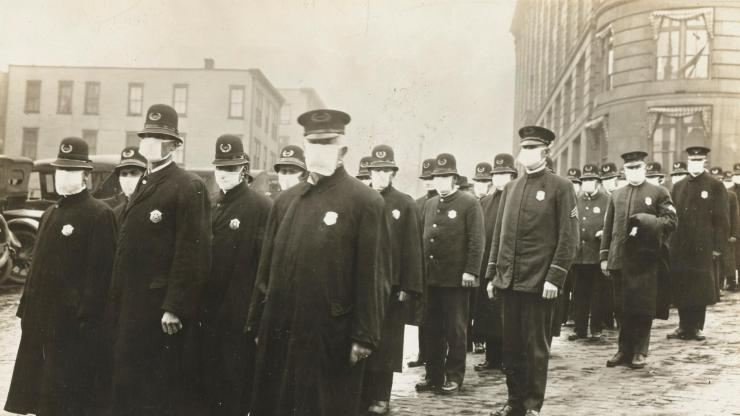 1918-19 Spanish flu police with masks