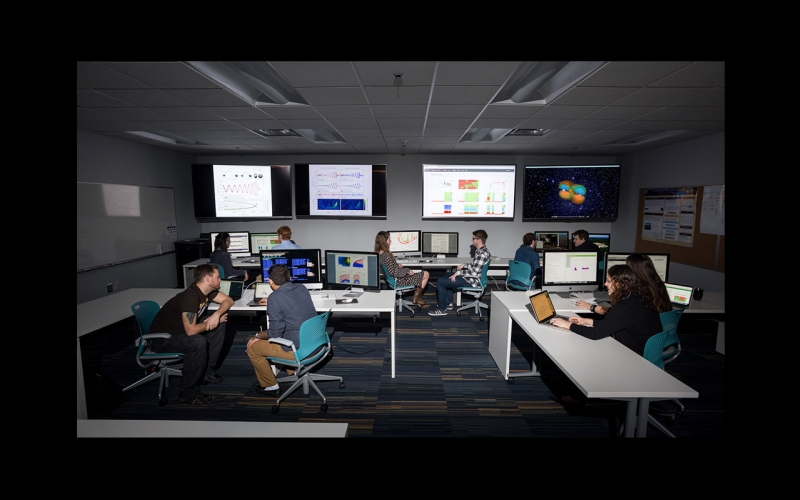 Photo of the Laser Interferometer Gravitational-wave Observatory (LIGO) mock-up control room on campus